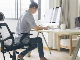 working for home office. Image: A Woman Works From Home Working For Office E