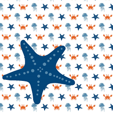 Wallpaper Sea Animals With Starfish Orange Blue Decovrycom
