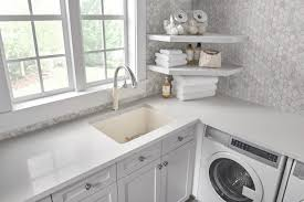 set your laundry room apart with the beautiful blanco liven laundry sink the liven laundry sink is made of blanco s patented silgranit material