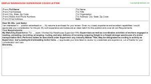 supervisor job titlewarehouse supervisor cover letter