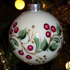 Hand Decorated Christmas Balls Christmas Vines Cranberry Berries Glass Christmas Ornament Hand 8