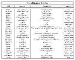 Wedding Day Timeline Excel Reception Schedule Template