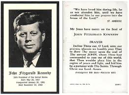 Funeral Prayer Cards John F Kennedy Prayer Card Collectors Weekly