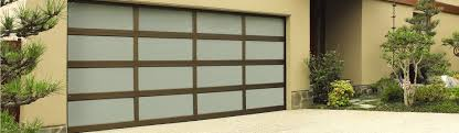 Modern Glass Garage Doors Aluminum 8800 Anodized Bronze With White Laminated Inside Ideas