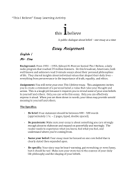 this i believe rdquo essay rubric ldquothis i believerdquo essay rubric