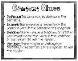 Context Clues Anchor Chart English Resources Mrs Thompsons Spot
