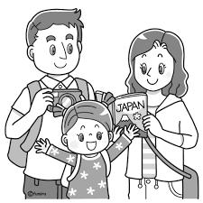 欧米人日本に観光に来た外国人の家族のイラストモノクロ 子供と