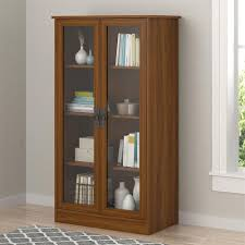 details about wood storage display cabinet glass doors bookcase china curio multi use cupboard