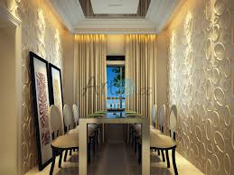 kitchen dining room with embossed 3d wall panels