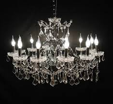 large 12 arm branch chrome shallow cut glass chandelier 6490164981149