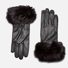 barbour women s faux fur trimmed leather gloves black womens accessories thehut com