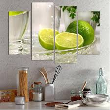 4 panels lemon fruit green canvas painting modern wall paintings for home decorative wall art picture on lemon lime wall art with 4 panels lemon fruit green canvas painting modern wall paintings for