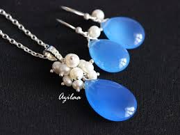blue chalcedony pearl pendant earrings