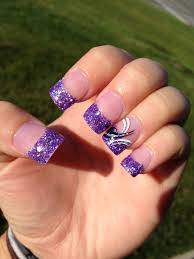 Pink Purple And Silver Nail Designs Purple Glitter Tips With White Black And Silver Design