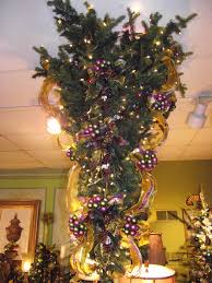 Decorating An Upside Down Christmas Tree In Purple Olive And Gold Purple Christmas Tree Bows