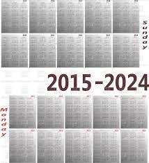 Simple 2015 Calendar Simple 2015 2024 Year Calendars Vector Illustration Of Calendars