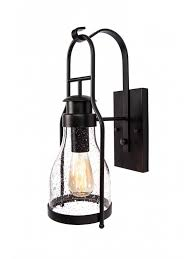 rustic wall sconce lantern with pioneer bubble glass rubbed bronze
