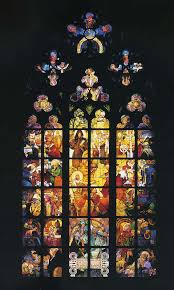 stained glass window in st vitus cathedral next alphonse mucha wallpaper