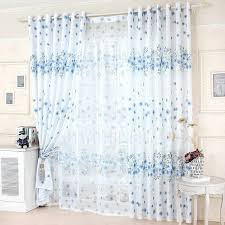 Decorative Blue Floral Curtains White Polyester Bedroom Curtains