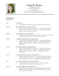 Resume Stunning Dance Templates Acting Template Instructor
