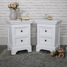 pair white painted 2 drawer bedside table chests vintage chic bedroom furniture