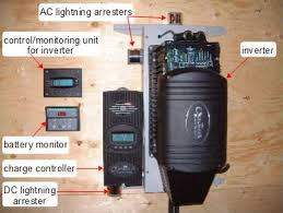 off grid solar power systems photo including an inverter charge controller lightning arresters and control boxes in an