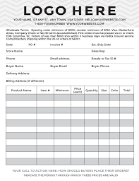 Sample Of Order Form Template Sample Wholesale Line Sheets Check Them Out Display Order