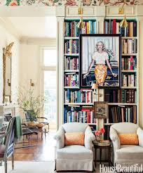 Decorating: Decoration Awe Inspiring Built In Open Book Shelf As Well As  Green Wall Curatin
