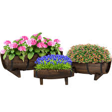 best choice s garden decor rustic wood set of 3 half barrel planter 0