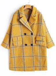 zaful checked peacoat yellow l women s wide waisted polyester regular eizrxbv
