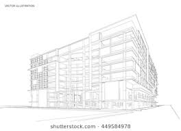 modern architecture drawing. Wonderful Architecture Perspective 3d Wireframe Of Modern Building Office Building With Architecture Drawing E