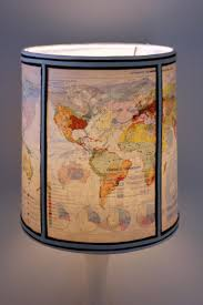 Unique Handmade Drum Lamp Shade Covered with 1960s World Atlas Pages.  $49.00, via Etsy
