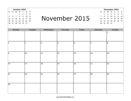 November 2015 Calendar Free Printable Allfreeprintable Com