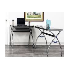 Desk glass top Ikea Desk Techni Mobili Black Lshaped Corner Desk With Tempered Glass Top And Pull Out Keyboard The Home Depot Techni Mobili Black Lshaped Corner Desk With Tempered Glass Top And
