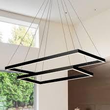 vonn lighting atria duo rectangular 92 watt black integrated led chandelier