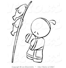 Small Picture Vector of Japanese Person with Fish on a Pole Coloring Page