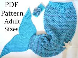 Mermaid Tail Blanket Knitting Pattern Unique KNITTING PATTERN Mermaid Tail Blanket Adults Sizes Mermaid Etsy