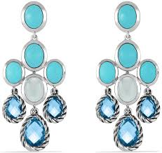 david yurman chandelier earrings with blue topaz turquoise and milky quartz
