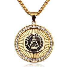 masonic pendant necklace men hip hop jewelry gold plated chain rock rap freemason necklace mens jewellery cool gift