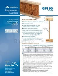 Load Bearing Chart For Lumber Gpi 90 Bluelinx