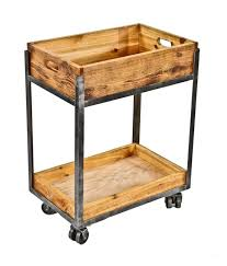 iron industrial furniture. repurposed american industrial welded joint angled iron and cedar wood twotier mobile factory cart furniture
