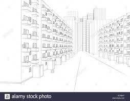 architectural drawings of skyscrapers. Drawing Of A City Street With Apartment Buildings And Skyscrapers Architectural Drawings