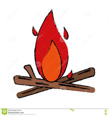 Conception En Bois De Camping De Feu De Dessin Illustration De