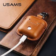 details about usams genuine leather case earphones charging case keychain for apple airpods