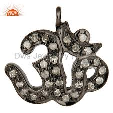 more views 925 sterling silver pave set diamond om hindu religious charm pendant