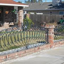 wrought iron fence brick. Wrought Iron Fence With Bricks Brick C