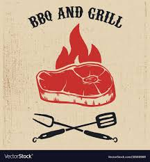 Bbq Poster Bbq And Grill Poster With Steak Fire Crossed Fork Vector Image