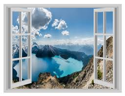 canada mountains lakes scenery window poster 3d wall