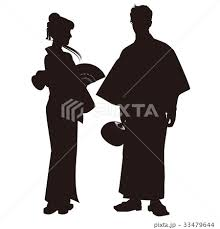 シルエット 浴衣のカップル 盆踊り 祭り ゆかた姿05のイラスト素材