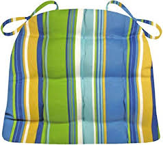 indoor outdoor dining chair cushion westport blue cabana stripe mildew resistant fade